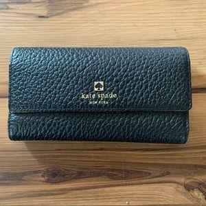 EUC Kate Spade Tri Wallet Pebbled Black Leather